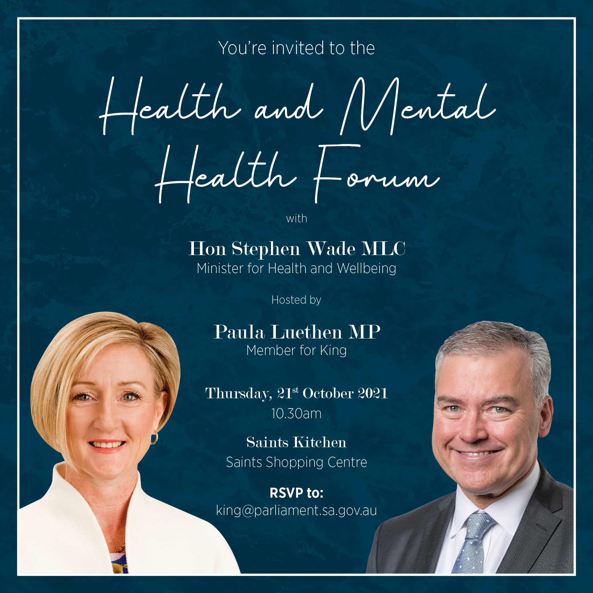 Health and Mental Health Forum with Hon Stephen Wade MLC, Minister for Health and Wellbeing